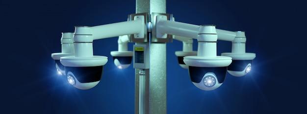 Cctv-camera voor straatbeveiliging geïsoleerd op a