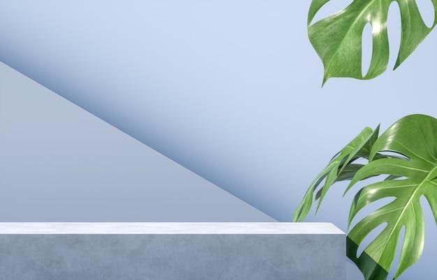 Cement podium met palmbladeren