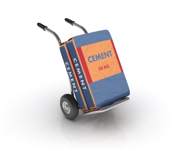Cement tas op steekwagen
