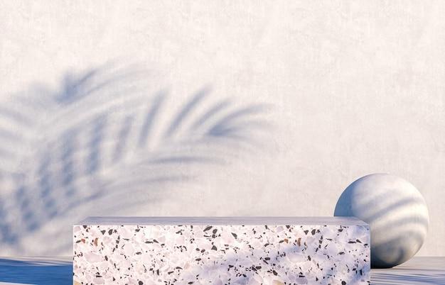 Cementpodium met schaduwen van palmbladen