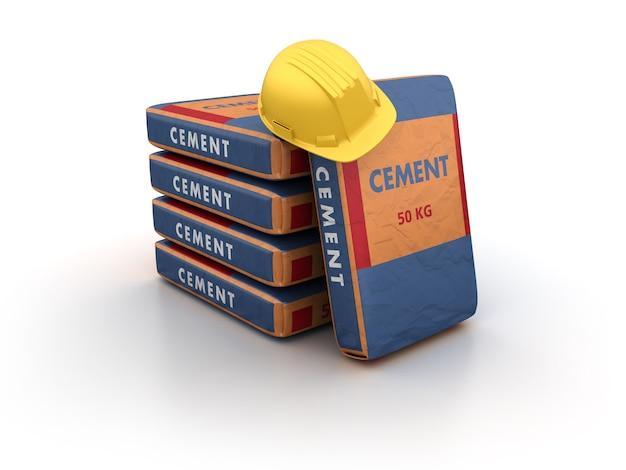 Cementzakken met veiligheidshelm
