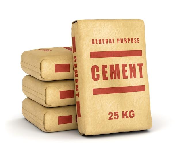 Cementzakken. papieren zakken geïsoleerd op een witte achtergrond.