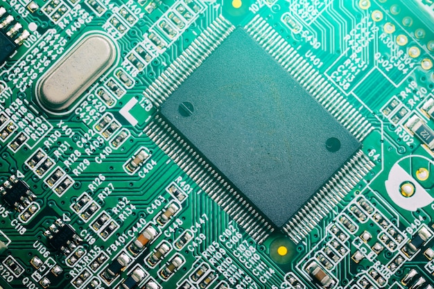 Centrale processor chip op circuit board, technologie concept