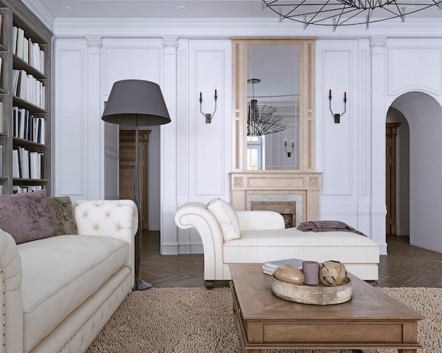 Chaise chair in klassieke woonkamer met bibliotheek. 3d-rendering