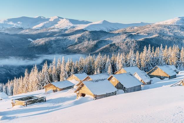 Chalet in de bergen. schoonheid wereld. karpaten oekraïne europa.