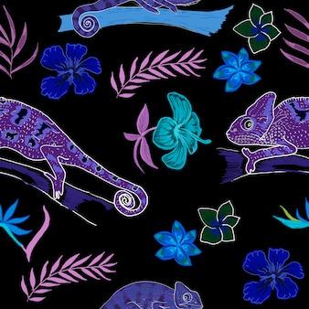 Chameleon dieren exotische handgetekende kleuren spel doolhof voor kinderen met belettering en alfabet print boek