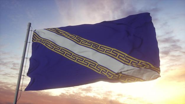 Champagne-ardenne vlag, frankrijk, zwaaien in de wind, lucht en zon achtergrond. 3d-rendering.