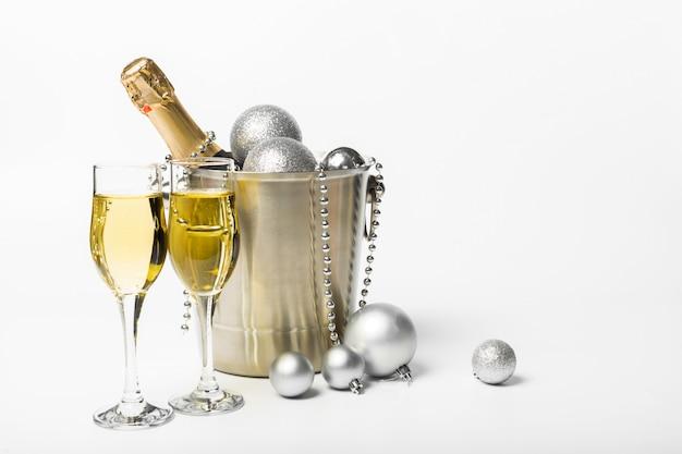 Champagne en kerst decor