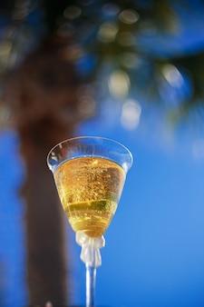 Champagne-glas op oceaanachtergrond bij het schip van de luxecruise tijdens zonsondergang.