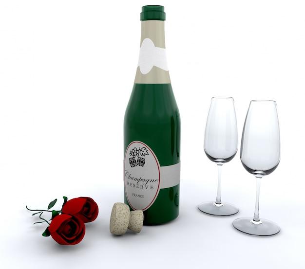 Champagne met rode rozen en glazen