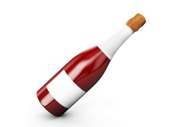 Champagne of mousserende witte wijn fles met bladgoud geïsoleerd op een witte achtergrond. 3d render