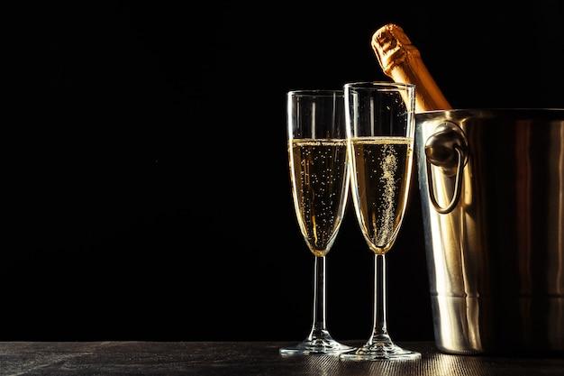 Champagne op de zwarte
