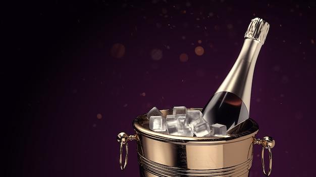 Champagne op ijsemmer. 3d-rendering en illustratie.