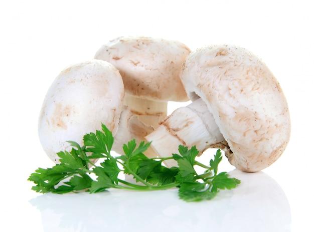Champignonpaddestoel en peterselie