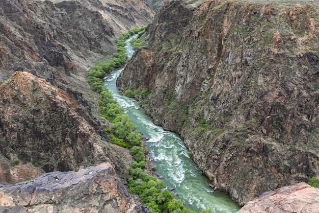 Charyn rivier canyon in het voorjaar