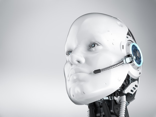 Chat bot concept met 3d-rendering humanoïde robot met headset