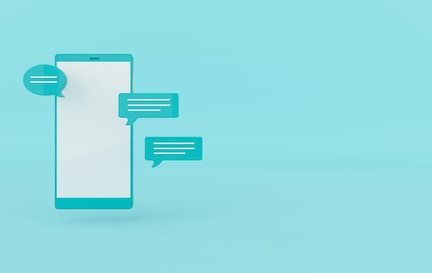 Chat bubble en smartphone 3d-rendering.