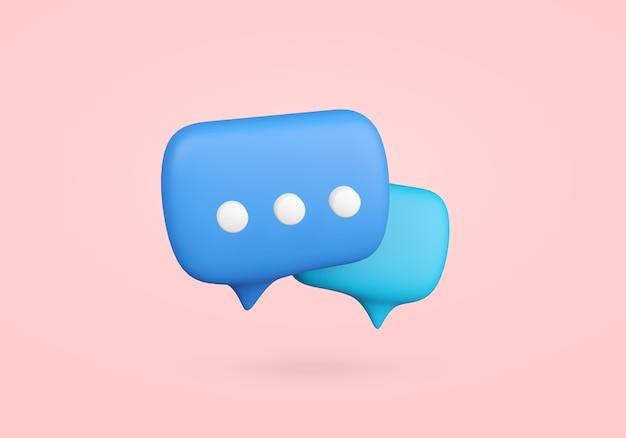 Chat bubble symbool 3d render. communicatie symbool illustratie met kopie ruimte. spraakballon voor bericht.