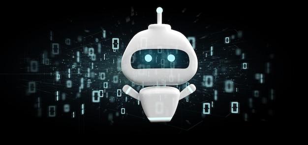 Chatbot met binaire code 3d-rendering