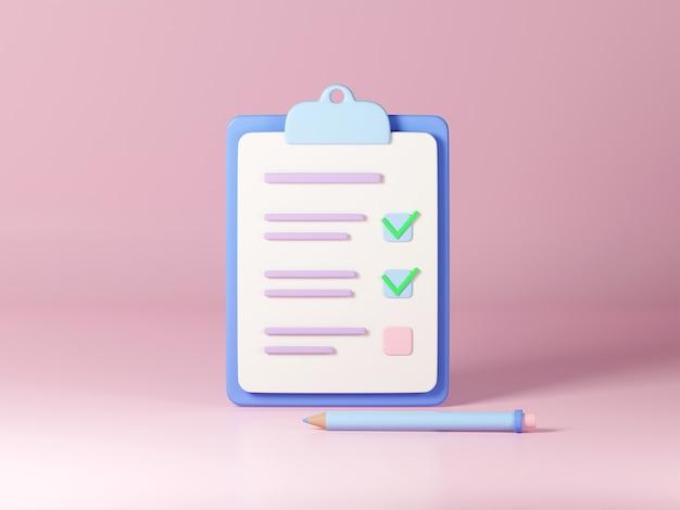 Checklist op klembordpapier 3d render illustratie notitieboekje met aangevinkte taken