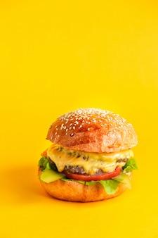 Cheeseburger met dubbel runderpasteitje en kaas, tomaten, lattuce bladsaus en gepekelde komkommer in burgerbroodjes
