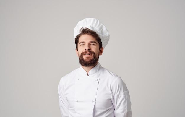 Chef cook caps emoties professionals grijze muur.