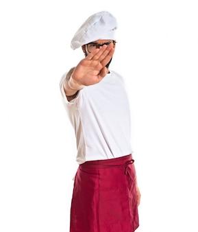 Chef-kok stopteken op witte achtergrond