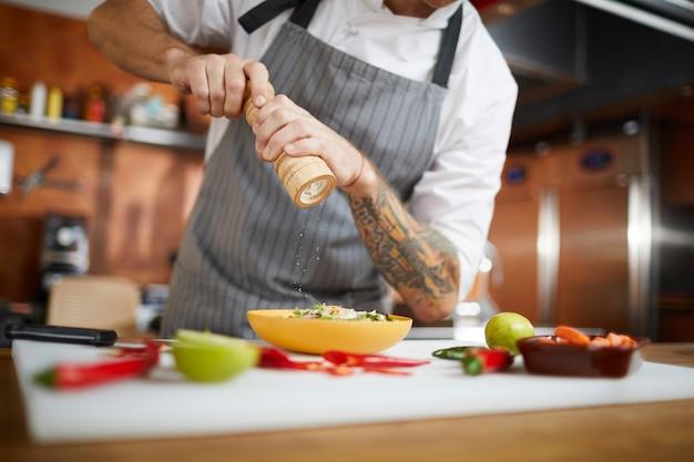 Chef-kok zout schotel
