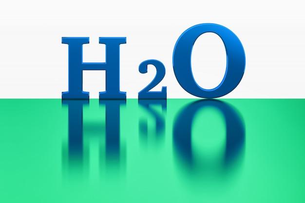 Chemische formule van water weerspiegeld op het glanzende oppervlak.