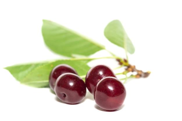 Cherry bessen close-up geïsoleerd op een witte achtergrond