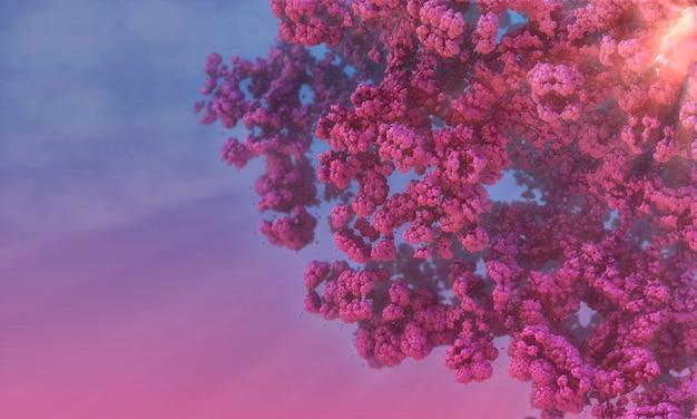 Cherry blossom branch in de zonneschijn, tegen de hemel. 3d-afbeelding