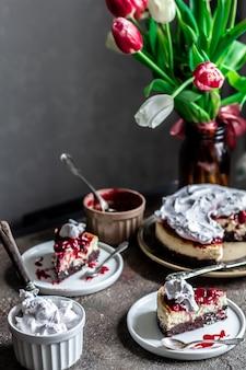Cherry cheesecake zelfgemaakte backery