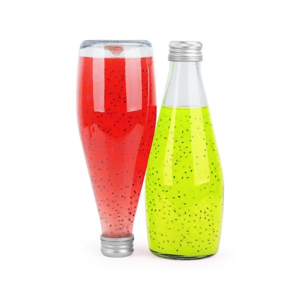 Chia-sap in een glazen fles op een witte achtergrond