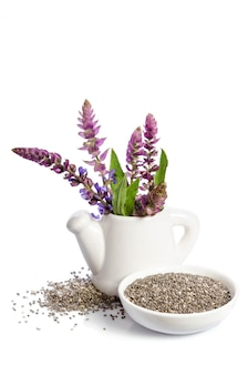 Chia zaden gezonde superfood met bloem geïsoleerd op een witte ruimte
