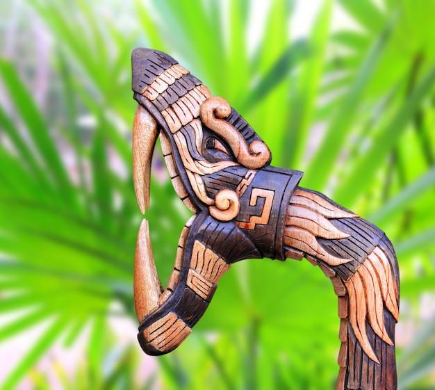 Chichen itza snake symbol wood handcraft mexico