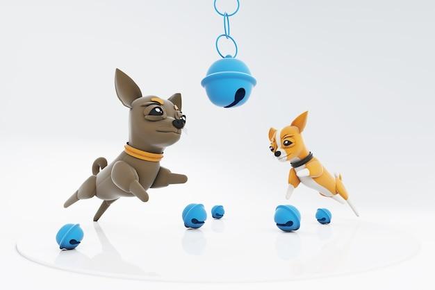 Chihuahua honden spelen met klokken
