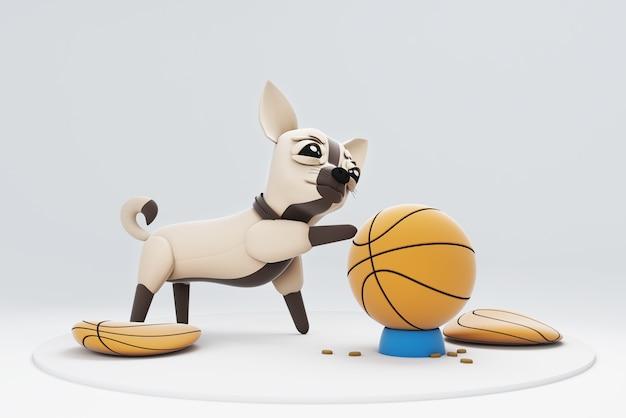 Chihuhua hond spelen met basketbal