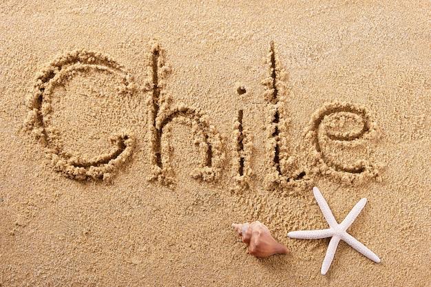 Chili handgeschreven strand zand bericht