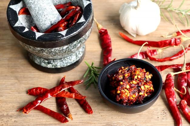 Chilipasta met knoflook