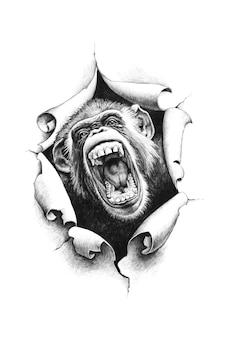Chimpansee met open mond breekt door het papier