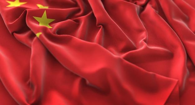China flag ruffled beautifully waving macro close-up shot