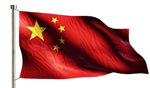 China national flag geïsoleerde 3d witte achtergrond