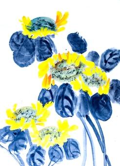 China vis traditionele borstel bloemkunst