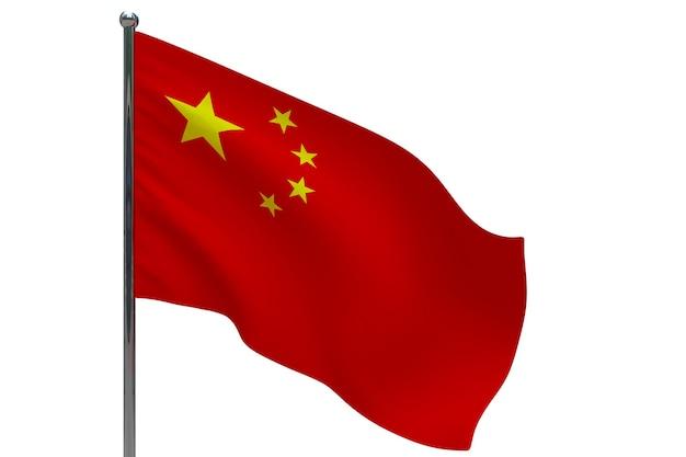 China vlag op paal. metalen vlaggenmast. nationale vlag van china 3d-afbeelding op wit