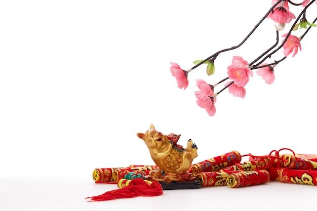 Chinees nieuw jaar 2019 varken met kersenboom