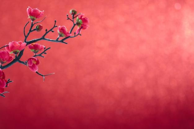 Chinees nieuwjaar 2020 bloemenpruimenbloesem op rood