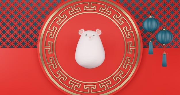 Chinees nieuwjaar 2020. chinese rat die op rood voetstuk drijft. het chinese lantaarn hangen op een rode muurachtergrond. jaar van de rat