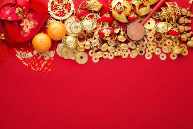 Chinees nieuwjaar decoraties, gouden munten en geldzak met karakter betekenis,