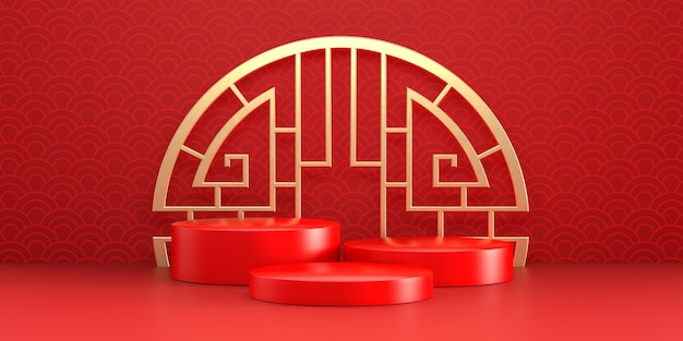 Chinees nieuwjaar drie-afgeronde podia met gouden ring en gevouwen fans