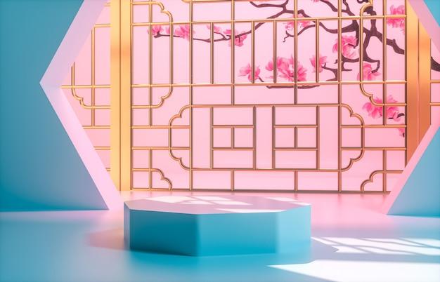 Chinese achtergrond met blauw podium voor productvertoning.